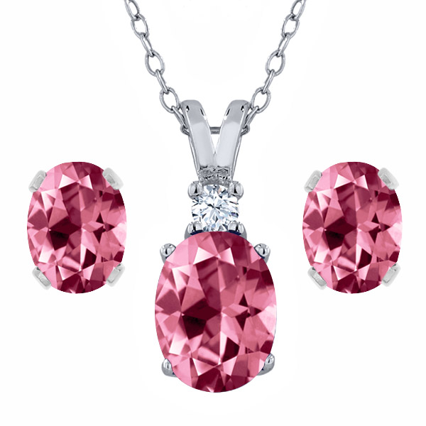 925 Sterling Silver Pendant Earrings Set with Pink Topaz from Swarvoski by