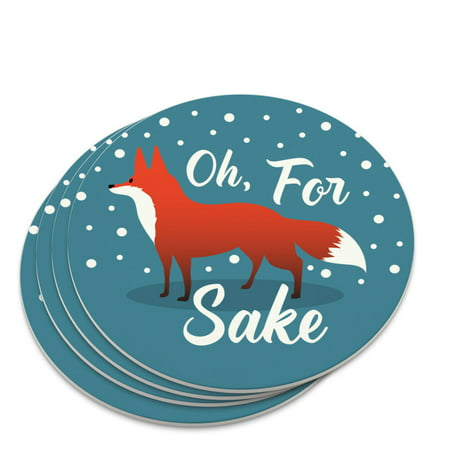 Oh For Fox Sake Funny on Teal Novelty Coaster Set (Teal Coasters)