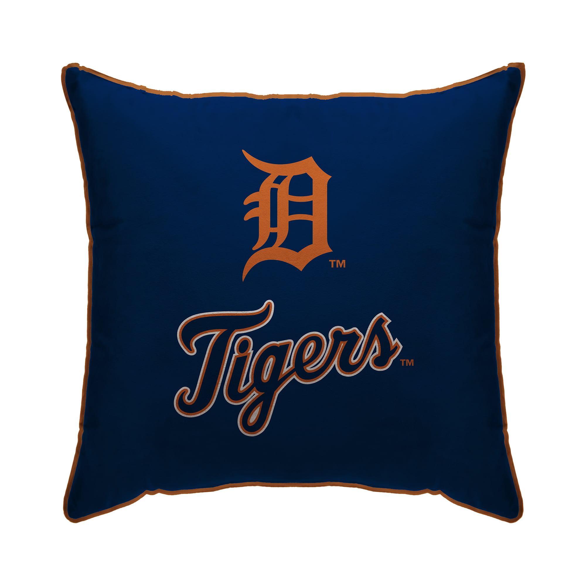 "Detroit Tigers 18"" x 18"" Plush Team Logo Decorative Throw Pillow - Blue - No Size"