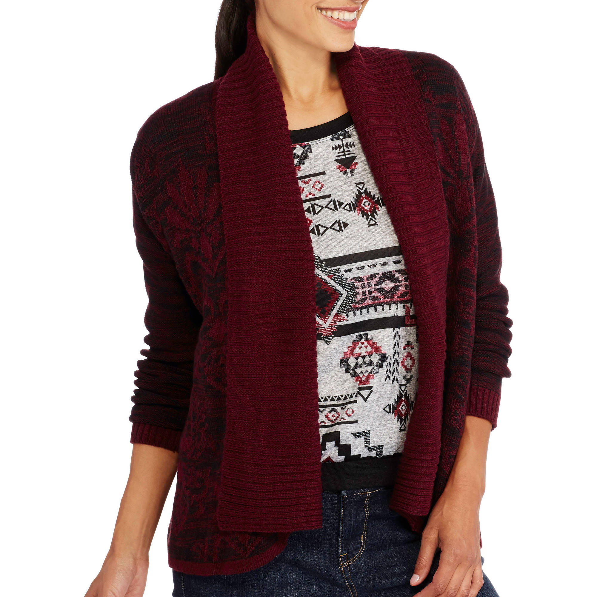 Samantha Rose Women's Shawl Collar Jacquard Open Cardigan