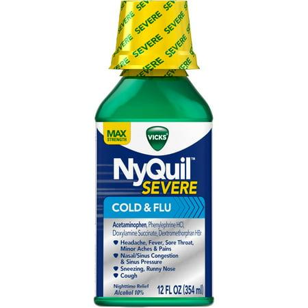 Vicks NyQuil sévère rhume et grippe secours liquide médecine froide, 12 fl oz