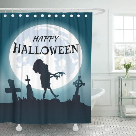 PKNMT Happy Halloween Scary Congratulation with Zombie Wandering at Foggy Spooky Bathroom Shower Curtains 60x72 inch