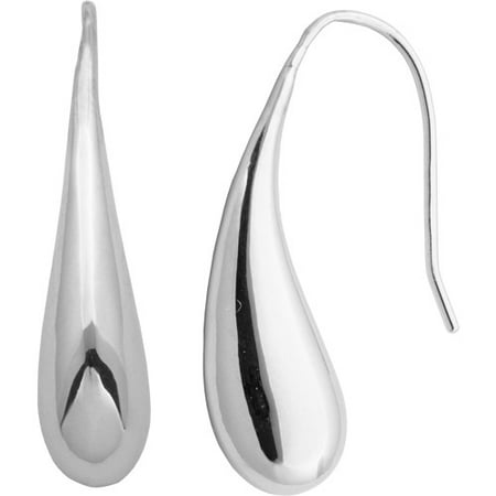 Sterling Silver Squiggle Wire Earrings - Sterling Silver Teardrop 1-1/8