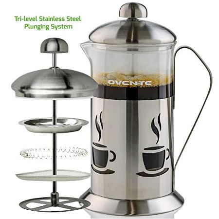 Ovente French Press Cafetiere Coffee and Tea Maker, High-Grade Stainless Steel, Nickel Brushed, Heat-Resistant Borosilicate Glass, 20 oz (590 ml), 5-cup, Classy Cafe Design, FREE Measuring Scoop ()