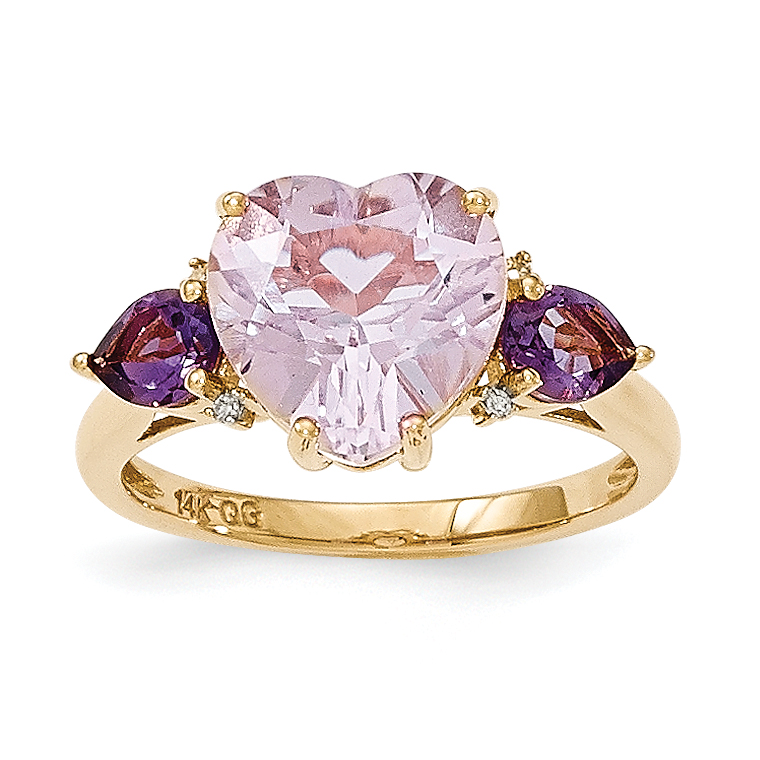 14k Yellow Gold Pink Quartz & Amethyst and Diamond Ring by