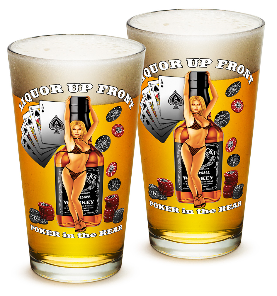 Pint Glasses – Man Cave Gifts for Men or Women – American Beer Glassware – Liquor Up Front Poker in The Rear Beer Glasses with Logo - Set of 2 (16 Oz)