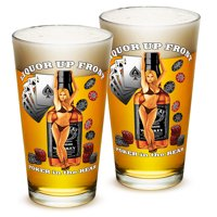 Pint Glasses � Man Cave Gifts for Men or Women � American Beer Glassware � Liquor Up Front Poker in The Rear Beer...