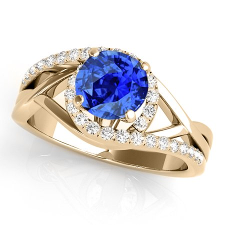 1.15 Ct. Created Tanzanite And Diamond Engagement Ring -  14k Solid Yellow Gold