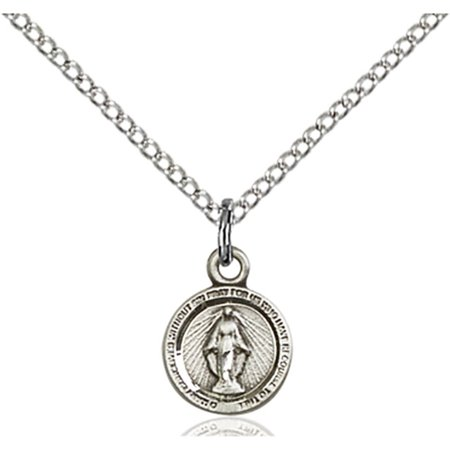 Sterling Silver Miraculous Pendant 3 8 X 1 4 Inches With Sterling Silver Lite Curb Chain