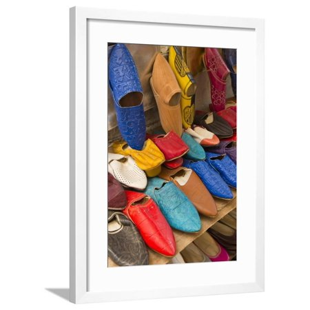 Morocco Fez Colorful Arab Shoes for Sale in Store on Rack Framed Print Wall  Art By Bill Bachmann