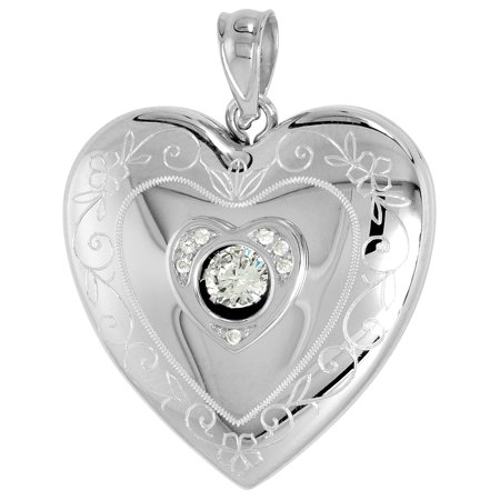 Scroll Heart - Sterling Silver Cubic Zirconia Dancing Diamond Heart Locket Pendant for Women Scroll Etching 1 inch NO CHAIN