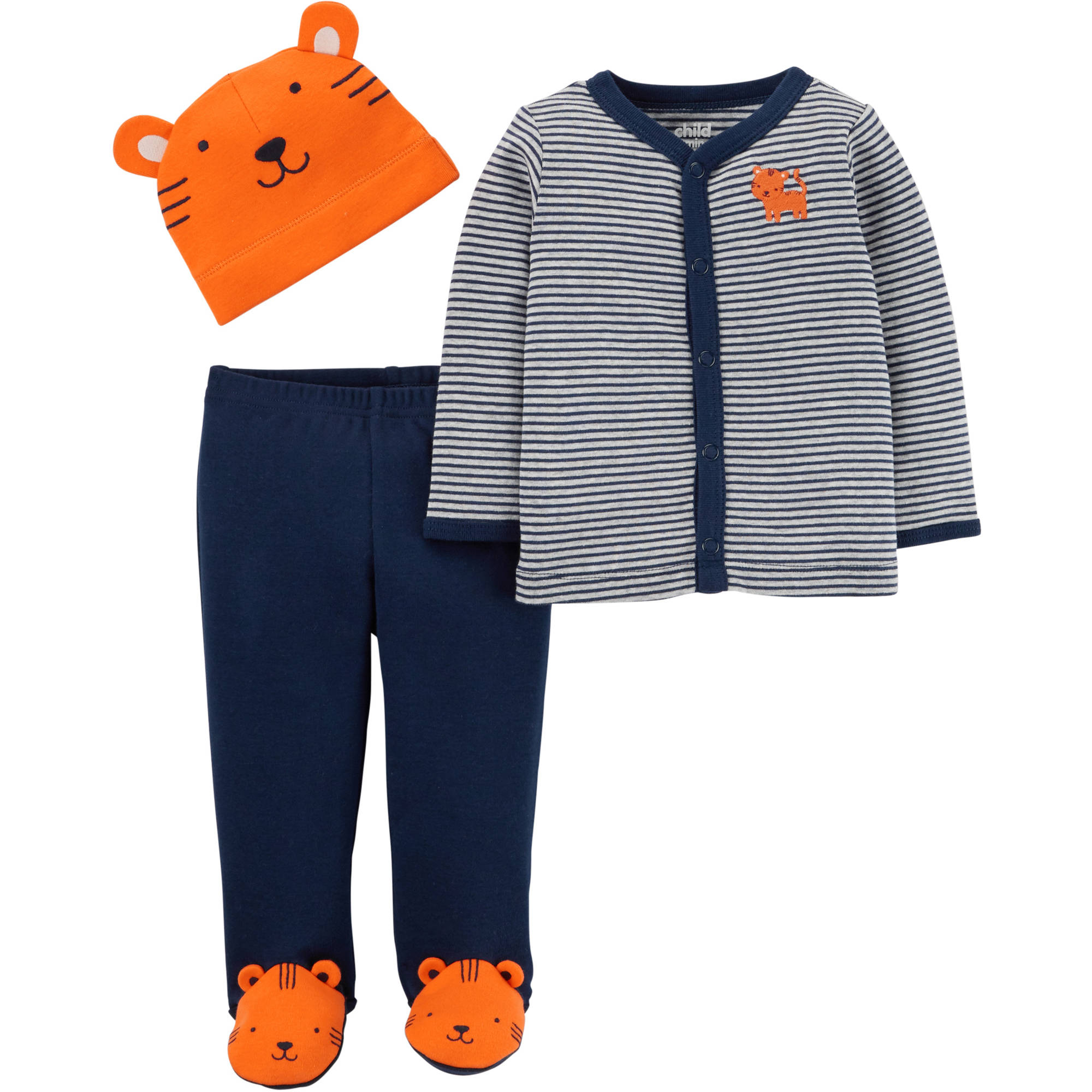 Child of Mine Newborn Baby Boy Cap, Cardigan and Foot Pant Set-3 Pieces