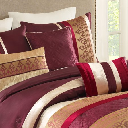 Better Homes And Gardens Dana 7 Piece Bedding Comforter Set Red Gold Walma