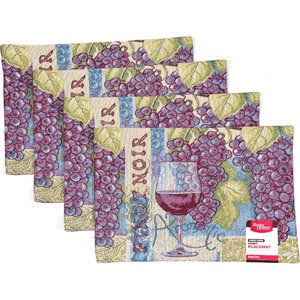 Better Homes & Gardens Tapestry Placemats 18-inch X 13-inch, Set of 4 (Pinot Noir Wine Grapes)