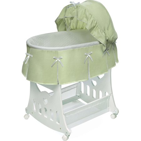 Badger Basket Portable Bassinet & Cradle with Toy Box Base, Sage Waffle Pleated