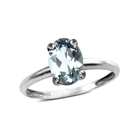 - Star K Classic Solitaire Oval 8x6 Genuine Aquamarine Engagement Promise Ring