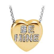 Fine Jewelry Vault UBPDS650271AGVY110 Diamond Be Mine Heart Necklace 14K Yellow Gold Vermeil