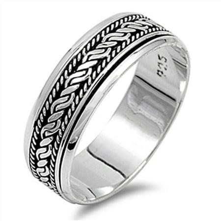Spinner Spinning Ring (Sterling Silver Women's Bali Rope Spinner Ring (Sizes 6-13) (Ring Size 10) )