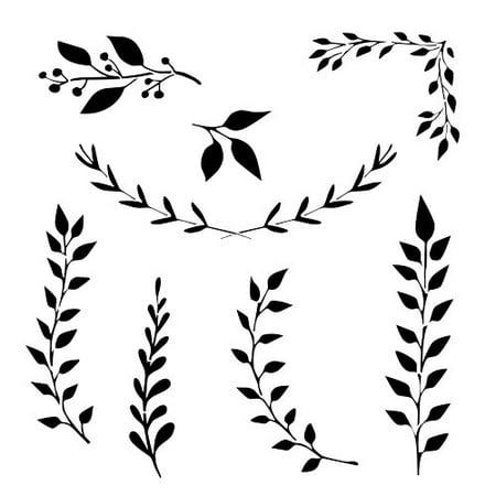 Designer Stencils Sprigs and Branches Stencil Details FS052 (Detailed Halloween Pumpkin Stencils)
