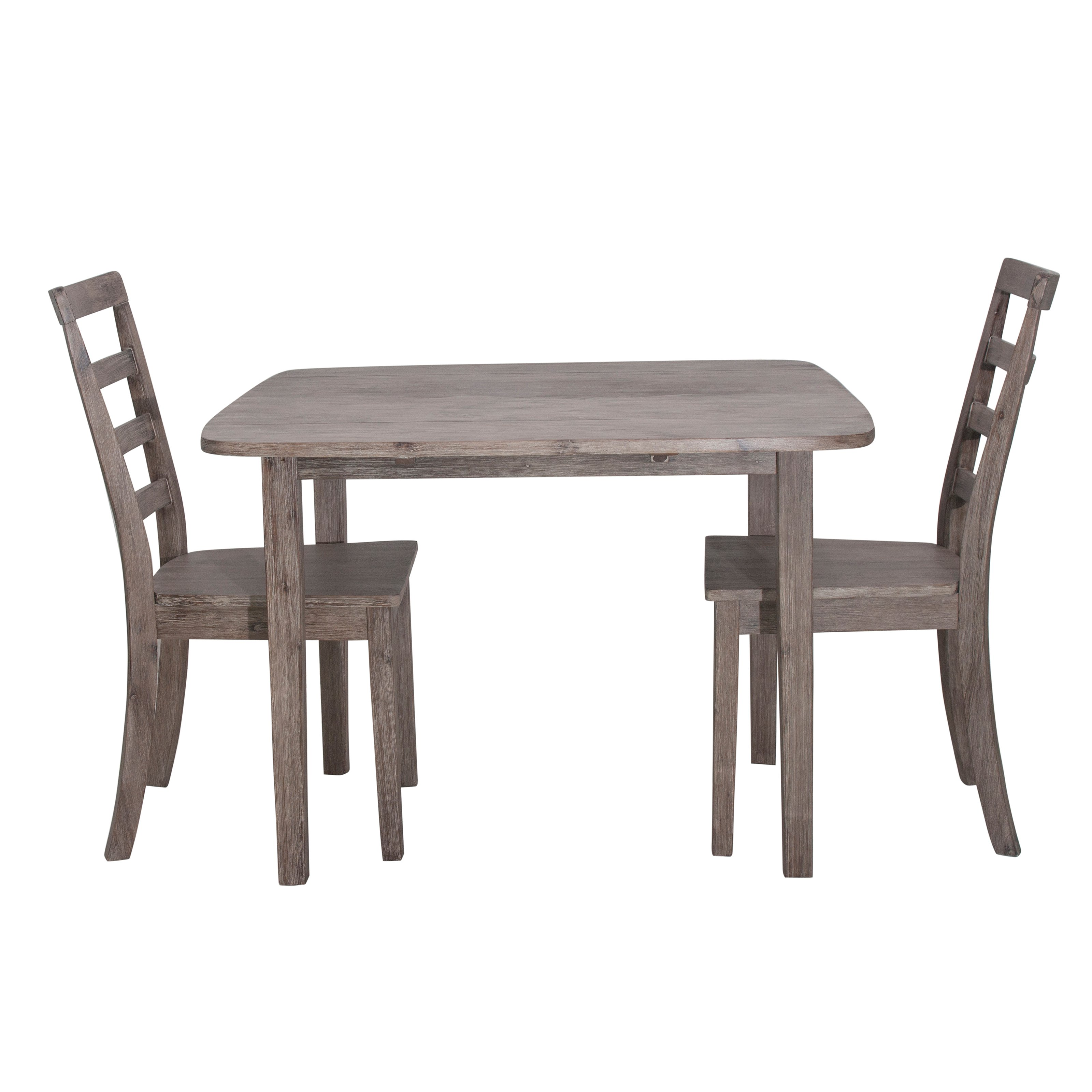 Boraam Boulder 3-Piece Dining Room Set Gray Wire Brushed by Boraam Industries