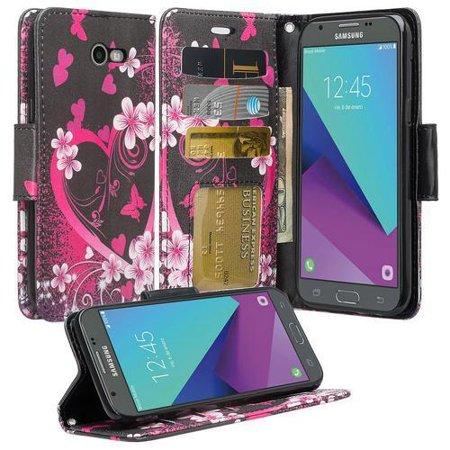 Samsung Galaxy J3 Prime, Luna Pro, Emerge, Express Prime 2, Amp Prime 2, Sol 2 Case - Wydan PU Leather Credit Card Slot Wallet Case Hybrid Kickstand Cover w/ Wrist Strap - Heart Flower - Black Pink