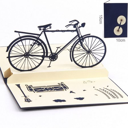 Funny Birthday Cards Coxeer Handmade 3D Bike Pop Up Thank You – Bicycle Birthday Cards