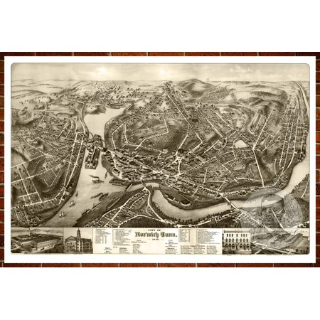Ted\'s Vintage Art Map of Norwich, CT 1876; Old Connecticut Decor 18 ...