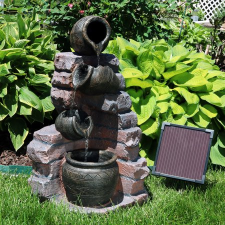 Sunnydaze Crumbling Bricks and Pots Solar-on-Demand Water Fountain with LED Light, Outdoor Garden Cascading Waterfall Feature, 27-Inch (Tall Waterfall)