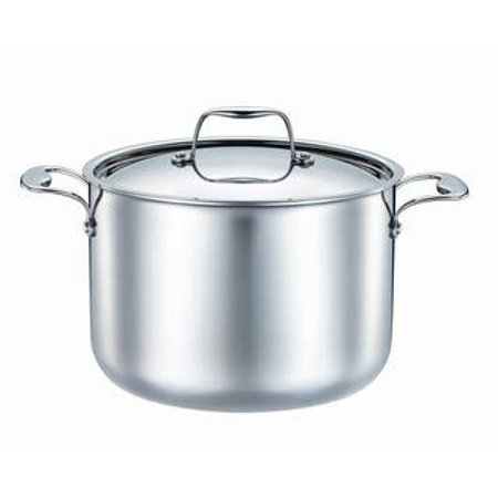 Josef Strauss Integral 8.2 Quart Stockpot | Tri-Ply Construction, Works with Induction Cooktops, Oven and Dishwasher Safe, 18/10 Stainless Steel Brushed Interior, Mirrored Stainless Steel