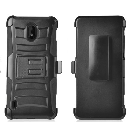for Nokia 3.1C (Cricket), 3.1A (AT&T) Shockproof Defender Heavy Duty Cover with Kickstand & Swivel Belt Clip Holster Cell Phone Case Shock Absorption Armor Case (Black)