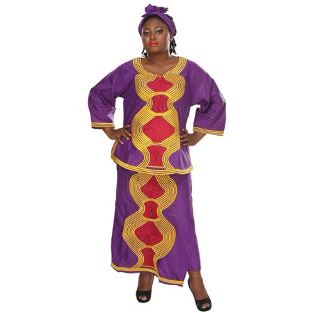 African Planet Women's Ethnic Apparel Skirt Headwrap Top Purple Embroidery