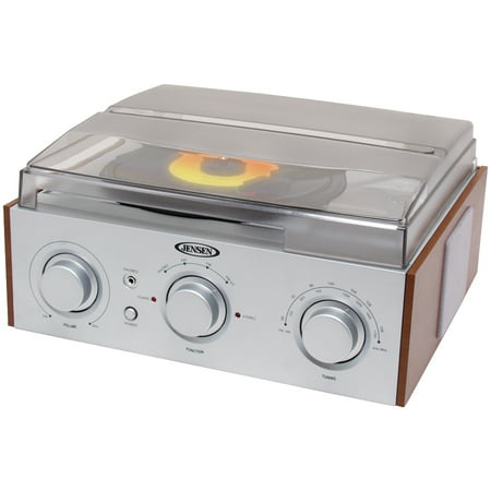 Free Turntable (JENSEN JTA-220 3-Speed Stereo Turntable with AM/FM Receiver & 2 Built-in Speakers)