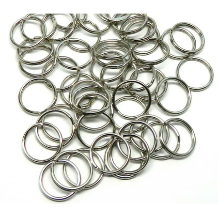 48 Nickel Plated Standard 1 Inch Split Key Ring Steel Alloy