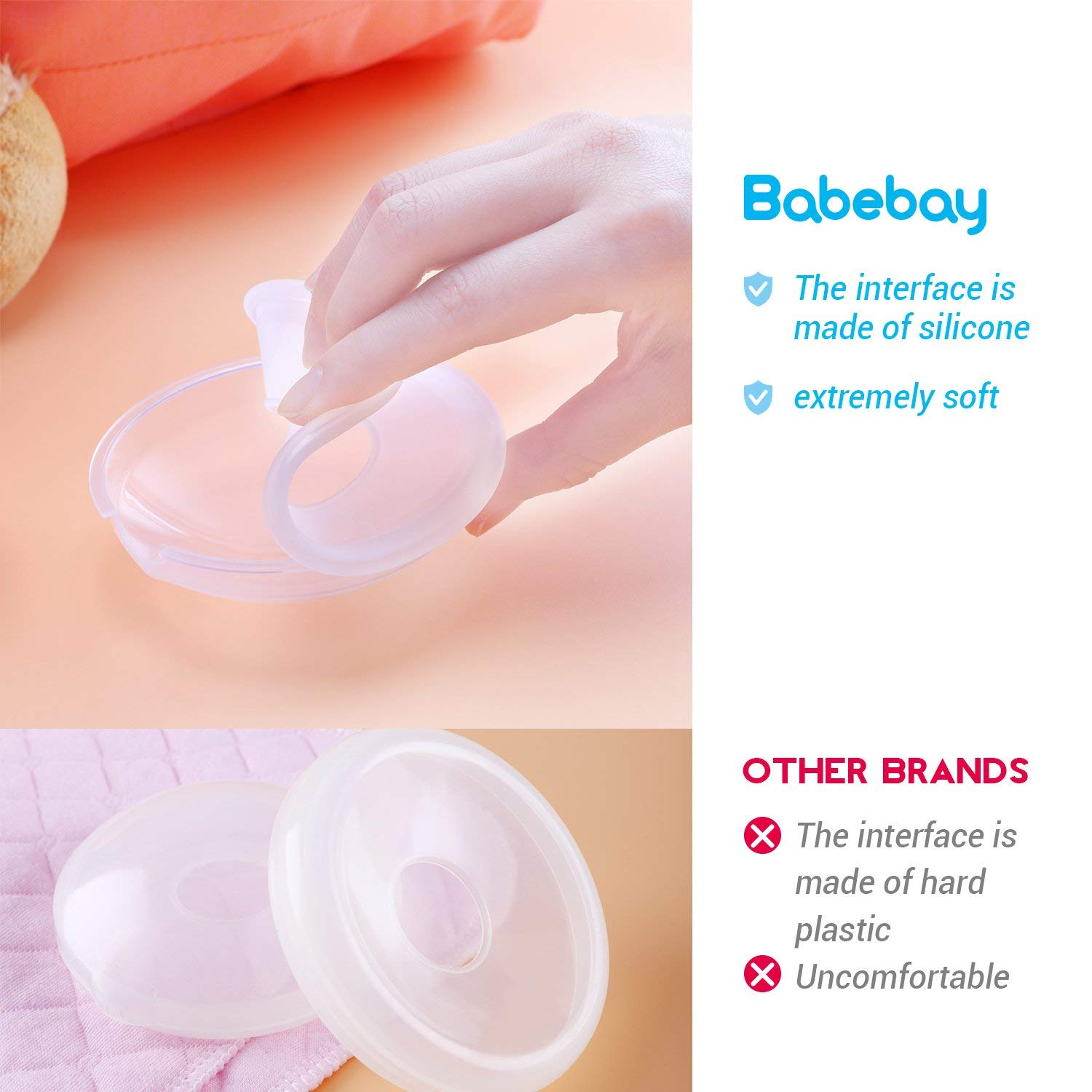 Breast Shells Nursing Cups Milk Saver Protect Sore Nipples for Breastfeeding Collect Breastmilk Leaks for Nursing Moms Soft and Flexible Silicone Material Reusable 2 Pack