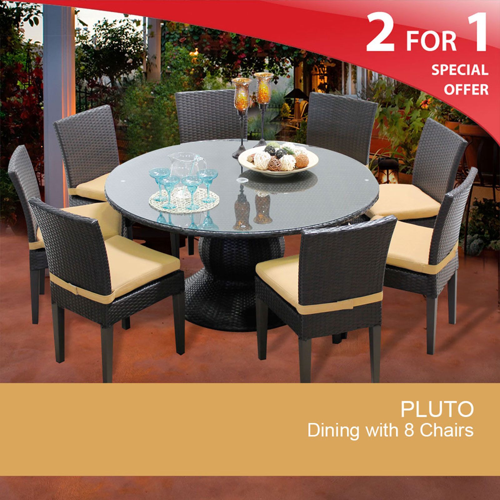 Pluto 60 Inch Outdoor Patio Dining Table With 8 Chairs Walmart Com