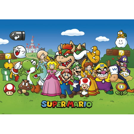 Super Mario Characters Nintendo Video Game Series Luigi Princess Peach Yoshi Giant Poster 55x39 inch - Luigi Princess Daisy
