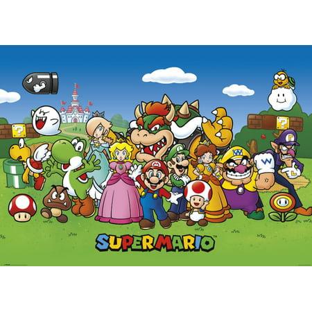 Super Mario Characters Nintendo Video Game Series Luigi Princess Peach Yoshi Giant Poster 55x39 inch