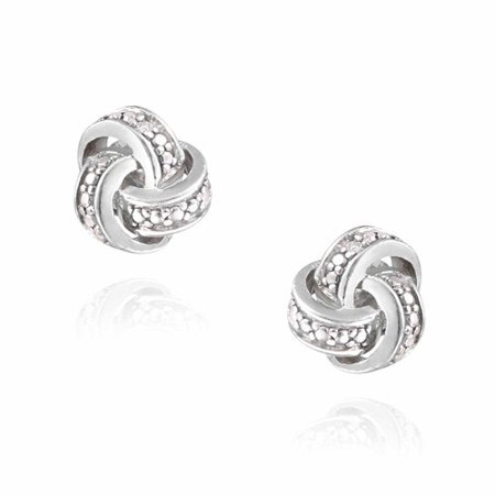Diamond Accent Silver-Tone Love Knot (Dragon Knot Earrings)