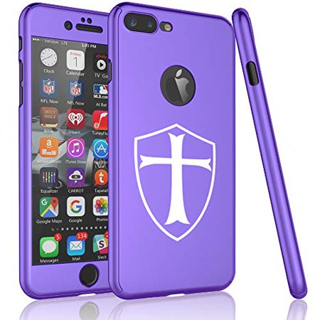 360° Full Body Thin Slim Hard Case Cover + Tempered Glass Screen Protector F0R Apple iPhone Templar Shield Knight Cross (Purple, F0R Apple iPhone 6 Plus / 6s Plus) Purple Shield Protector Case