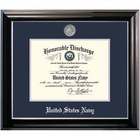 - Patriot Frame's Navy 8.5x11 Discharge Classic Black Frame with Silver Medallion