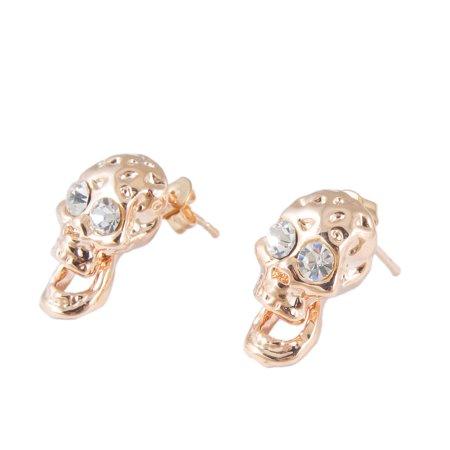 - Lady Rhinestone Decor Skull Pendant Screw Back Pierced Stud Earrings Copper Tone Pair