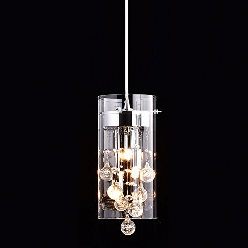 CLAXY Ecopower Lighting Glass & Crystal Pendant Lighting Modern Chandelier for Kitchen by