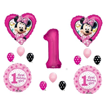 Minnie Mouse Happy Helpers 1st Birthday Party Balloons Decoration Supplies First for $<!---->