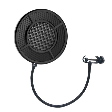 Yanmai Microphone Wind Screen Pop Filter Round Shape Mic Wind Mask Shield Screen Double Layer Metal Mesh with Stand Clip for Broadcasting Recording Vocals (Best Pop Filter For Vocals)