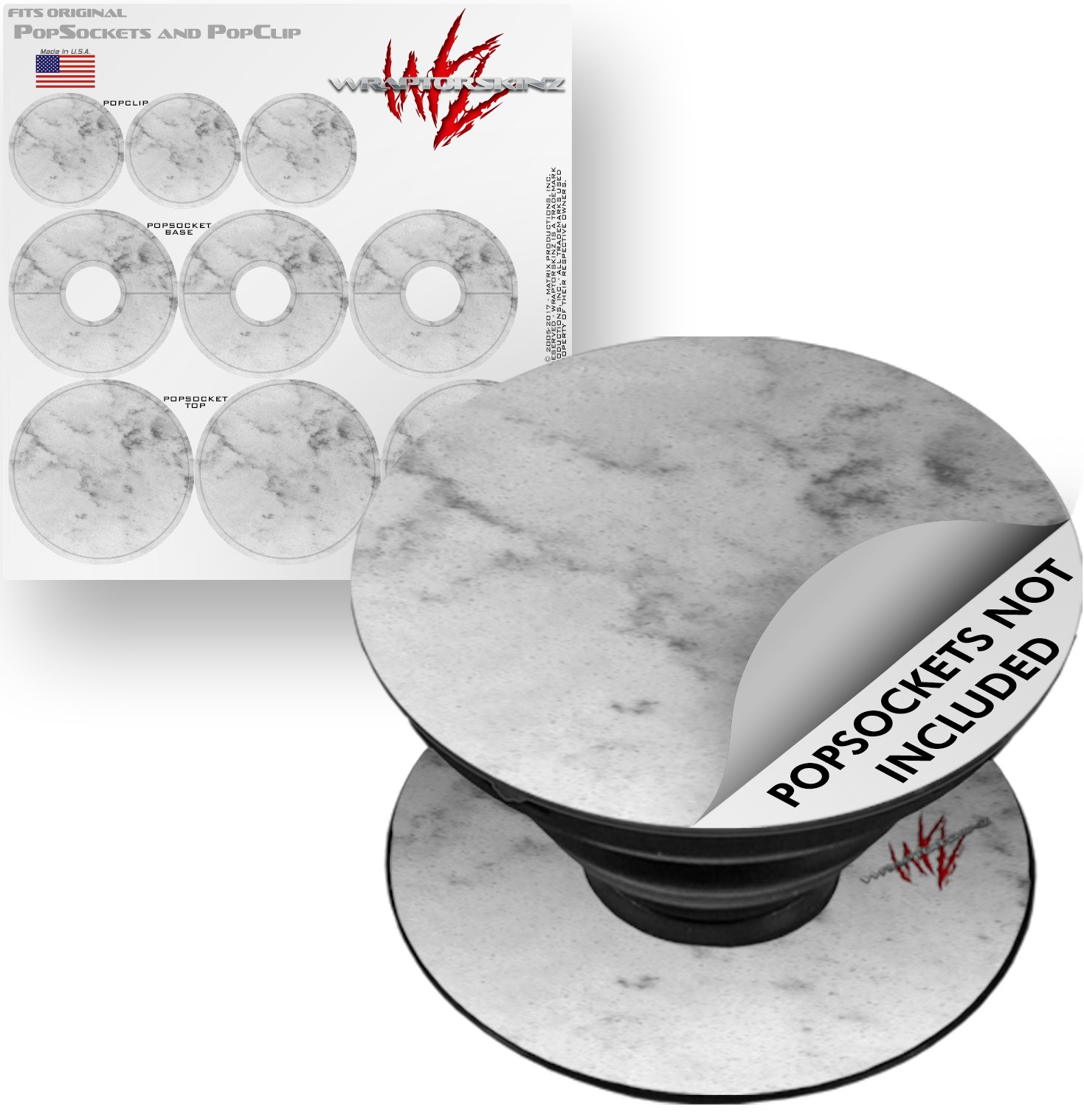 Decal Style Vinyl Skin Wrap 3 Pack for PopSockets Marble Granite 07 White Gray (POPSOCKET NOT INCLUDED) by WraptorSkinz