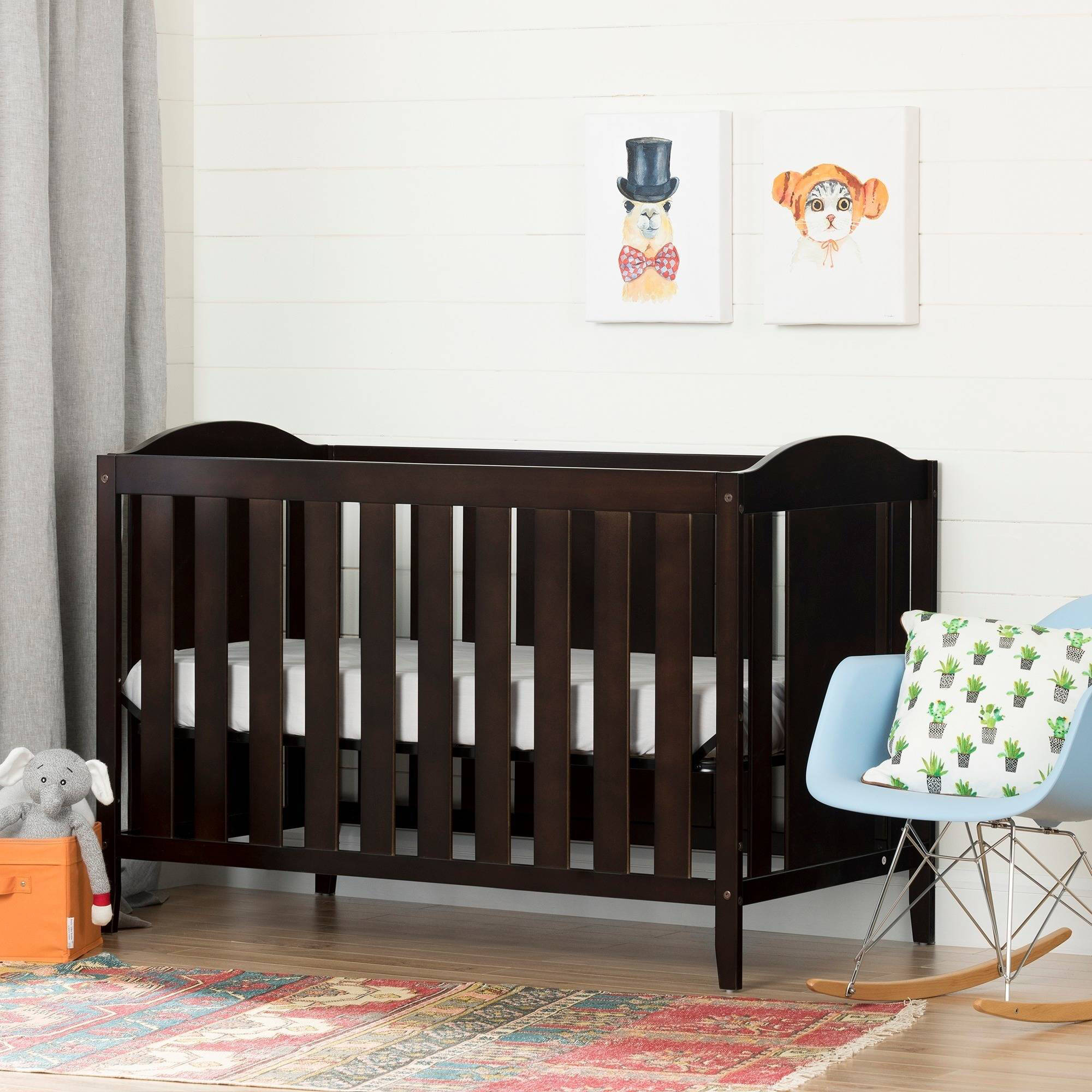 South Shore Angel Collection Crib and Toddler Bed, Espresso