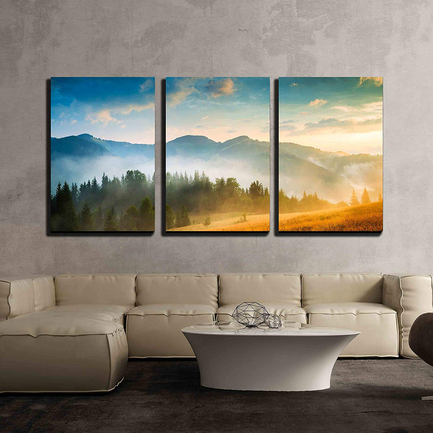 """wall26 - 3 Piece Canvas Wall Art - Amazing Mountain Landscape with Fog and a Haystack - Modern Home Decor Stretched and Framed Ready to Hang - 16""""x24""""x3 Panels"""