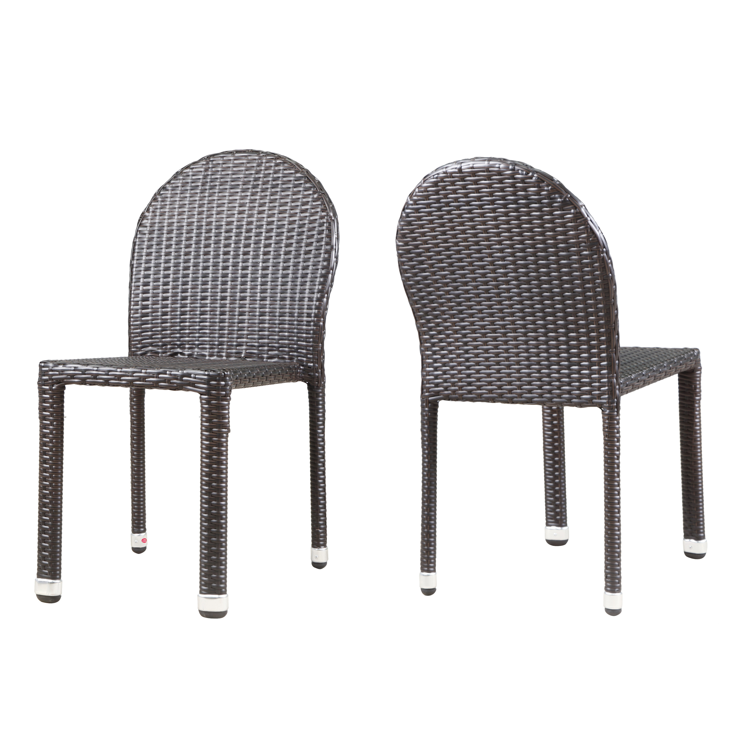 Amallie  Outdoor Wicker Stacking Chairs with Aluminum Frame, Set of 2, Multibrown