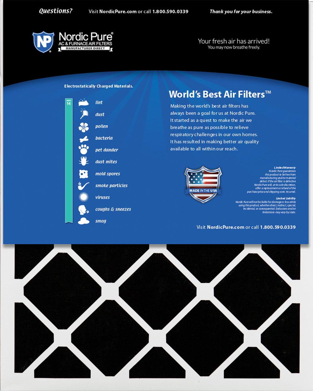 Carbon AC Furnace Filters 6 Piece Nordic Pure 30x30x1ExactCustomM12+C-6 MERV 12