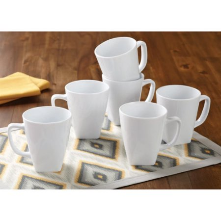 Better Homes and Gardens Loden Porcelain Square Mugs, White, Set of 6 by Better Homes and Gardens